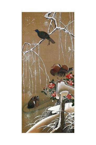 Mandarin Duck in the Snow 2-Jakuchu Ito-Giclee Print