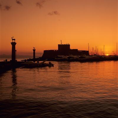 Mandraki Harbour at Sunrise, Rhodes Town, Rhodes Island, Dodecanese Islands, Greek Islands, Greece-Stuart Black-Photographic Print