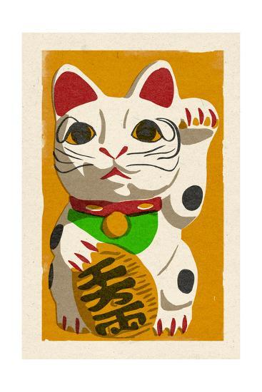 Maneki Neko - Woodblock-Lantern Press-Art Print