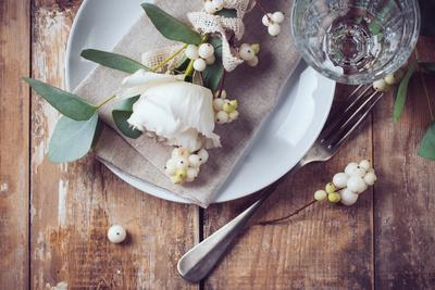 Vintage Table Setting with Floral Decorations