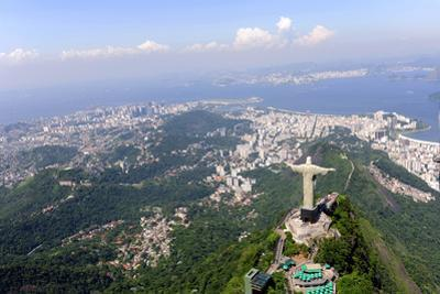 Aerial View Of Christ Redeemer And Corcovado Mountain In Rio De Janeiro