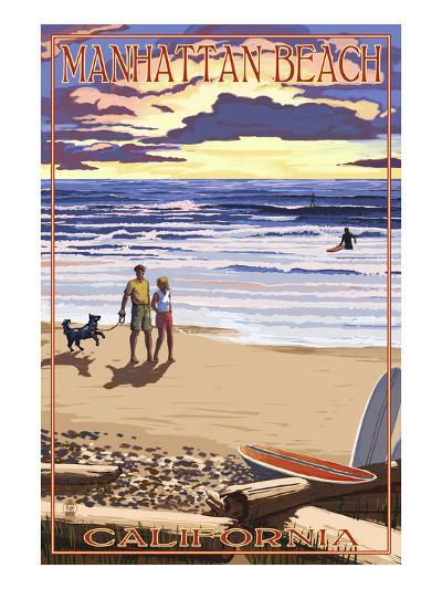 Manhattan Beach, California - Sunset Beach Scene-Lantern Press-Art Print