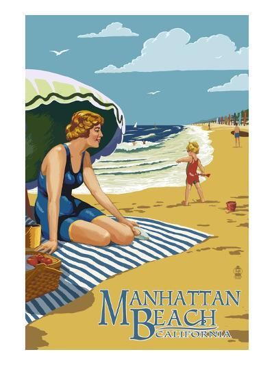 Manhattan Beach, California - Woman on the Beach-Lantern Press-Art Print
