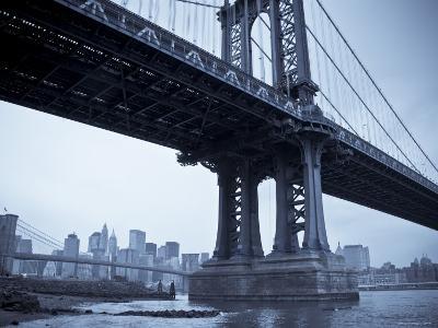 Manhattan Bridge and Brooklyn Bridge, New York City, USA-Alan Copson-Photographic Print