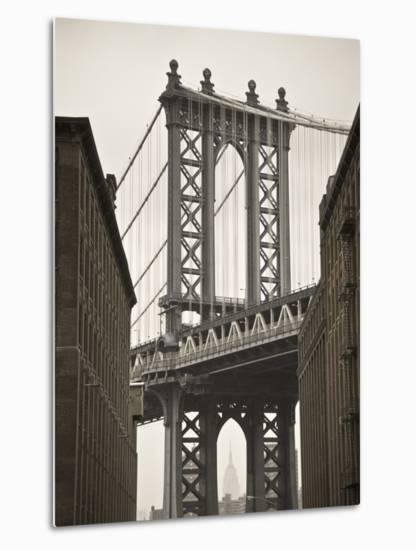 Manhattan Bridge and Empire State Building, New York City, USA-Alan Copson-Metal Print