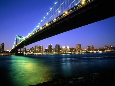 Manhattan Bridge and Skyline at Dusk-Alan Schein-Photographic Print