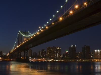 Manhattan Bridge at Dusk, New York City, New York, United States of America, North America-Amanda Hall-Photographic Print
