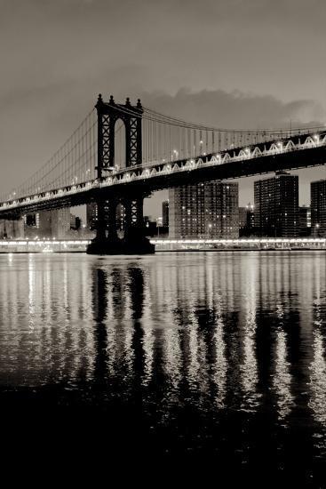 Manhattan Bridge at Night-Alan Blaustein-Photographic Print