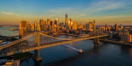 Manhattan Bridge At Sunrise New York City New York State Usa