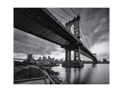 Manhattan Bridge Cloudy Sunset-Henri Silberman-Photographic Print