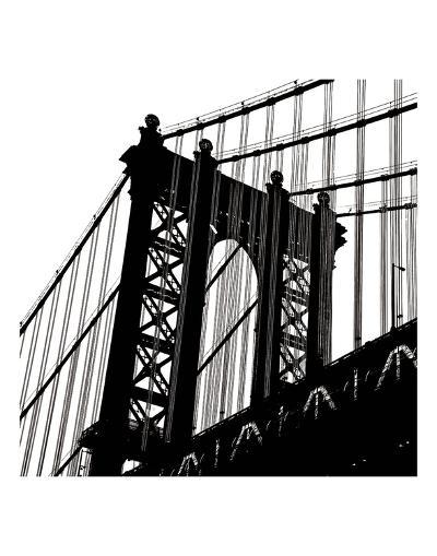 Manhattan Bridge Silhouette (detail)-Erin Clark-Art Print