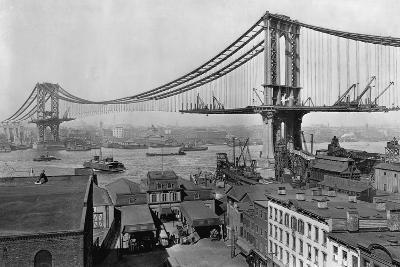 Manhattan Bridge under Construction--Photographic Print