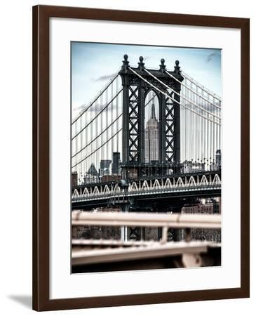 Manhattan Bridge with the Empire State Building Center from Brooklyn Bridge-Philippe Hugonnard-Framed Photographic Print