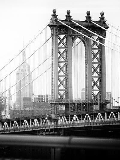 Manhattan Bridge with the Empire State Building from Brooklyn Bridge-Philippe Hugonnard-Photographic Print