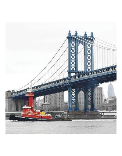 Manhattan Bridge with Tug Boat-Erin Clark-Art Print