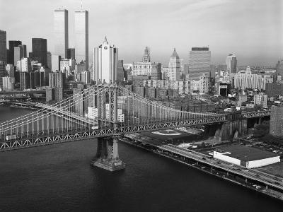 Manhattan Bridge with Twin Towers--Photographic Print