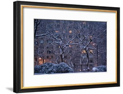 Manhattan Buildings and Trees Along Central Park During a Blizzard at Night-Kike Calvo-Framed Photographic Print