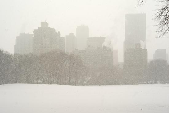 Manhattan Buildings and Trees in Central Park During a Blizzard-Kike Calvo-Photographic Print
