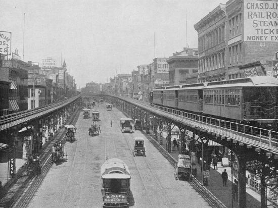 Manhattan Elevated Railway Running on Tracks Constructed Alongside the Bowery--Photographic Print