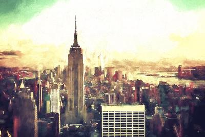 Manhattan Fiery Sunset-Philippe Hugonnard-Giclee Print