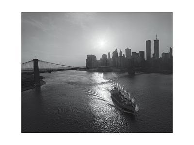 Manhattan Harbor Sunset Boat-Henri Silberman-Photographic Print
