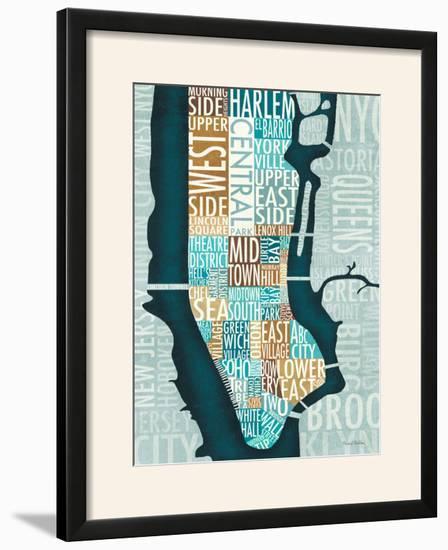 Manhattan Map Blue Brown-Michael Mullan-Framed Photographic Print
