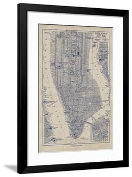 Manhattan Map-The Vintage Collection-Framed Giclee Print