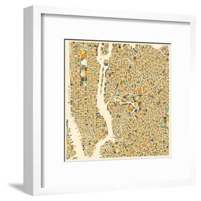 Manhattan Map-Jazzberry Blue-Framed Art Print