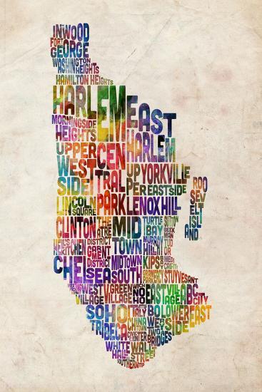 Manhattan New York Text Map-Michael Tompsett-Art Print