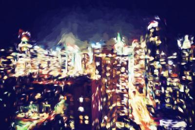 Manhattan Night VI - In the Style of Oil Painting-Philippe Hugonnard-Giclee Print