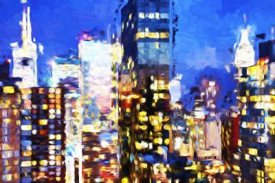 Manhattan Night VIII - In the Style of Oil Painting-Philippe Hugonnard-Giclee Print