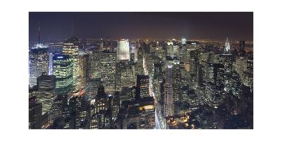 Manhattan North View, Night Panorama 2 - New York City Top View-Henri Silberman-Photographic Print