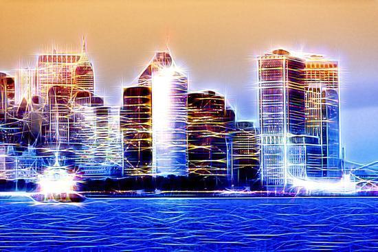 Manhattan Shine - Blue Night-Philippe Hugonnard-Photographic Print