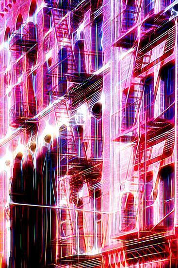 Manhattan Shine - Red Facade-Philippe Hugonnard-Photographic Print