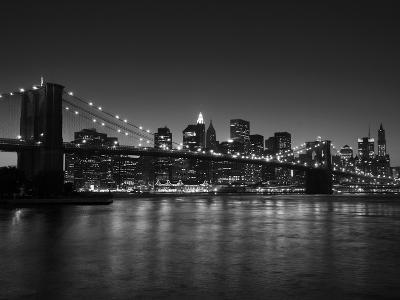 Manhattan Skyline and Brooklyn Bridge at Dusk, New York City, New York, USA-Amanda Hall-Photographic Print