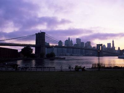 Manhattan Skyline and Brooklyn Bridge, New York, New York State, USA-Yadid Levy-Photographic Print