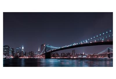 Manhattan Skyline and Brooklyn Bridge-Fabien Bravin-Art Print