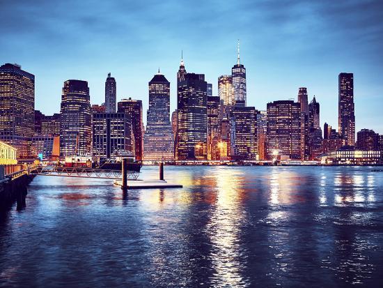 Manhattan Skyline Reflected in East River at Dusk-Maciej Bledowski-Photographic Print