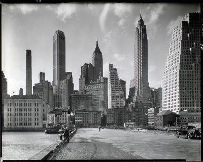 Manhattan Skyline - South Street and Jones Lane, Manhattan-Berenice Abbott-Giclee Print