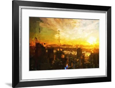 Manhattan Sunset - In the Style of Oil Painting-Philippe Hugonnard-Framed Giclee Print