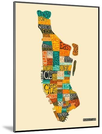Manhattan Typographic Map-Jazzberry Blue-Mounted Art Print