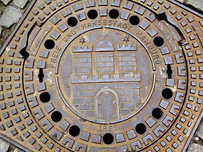 Manhole Cover with Hamburg's Coat of Arms, Hamburg, Germany-Miva Stock-Photographic Print