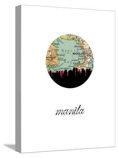 Manila Map Skyline-Paperfinch 0-Stretched Canvas Print