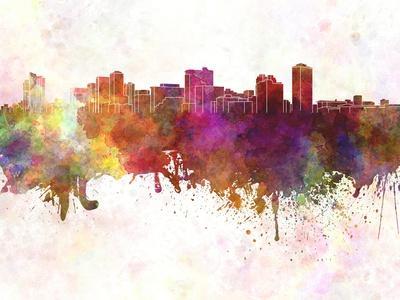 Manila Skyline in Watercolor Background-paulrommer-Art Print