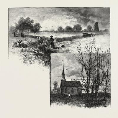 Manitoba: a Half-Breed Farm (Top), Kildonan Church (Bottom), Canada, Nineteenth Century--Giclee Print