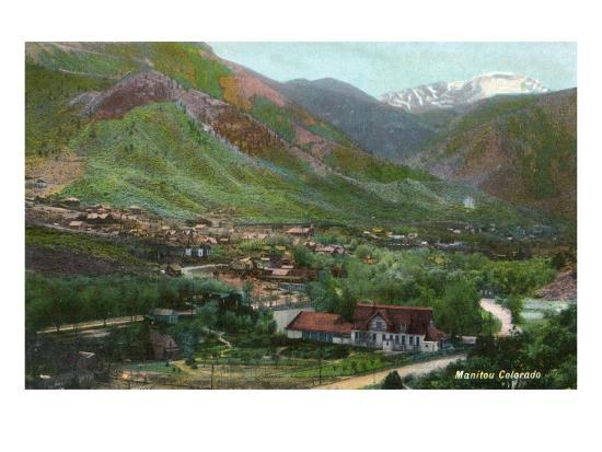 Manitou Springs, Colorado, Aerial View of the Town-Lantern Press-Art Print