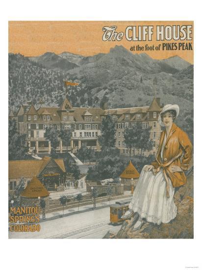 Manitou Springs, Colorado - The Cliff House & Pikes Peak-Lantern Press-Art Print