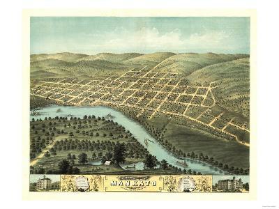 Mankato, Minnesota - Panoramic Map-Lantern Press-Art Print