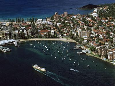 Manly and Manly Cove with Ferry Approaching Terminal--Photographic Print