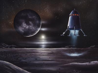 Manned Mission To Charon, Artwork-Richard Bizley-Photographic Print